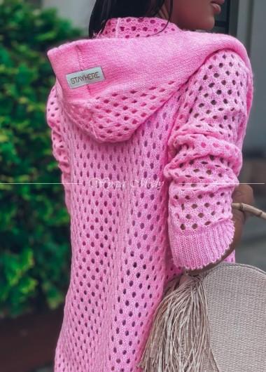 Kardigan ażurowy neon Pink