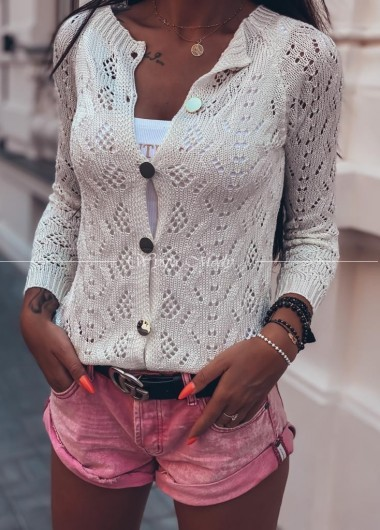 sweter ażur Miami ecru