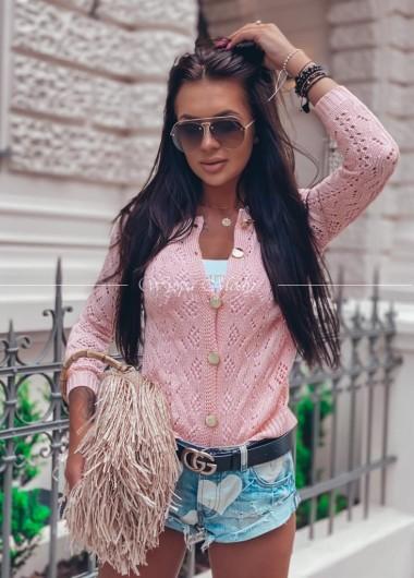 sweter ażur Miami pink