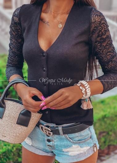 Sweterek koronka black malibu