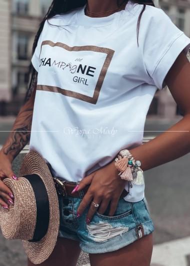 T shirt champane girl white