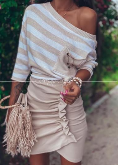 spódnica prążek malaga beige