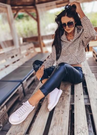 Woskowane spodnie black