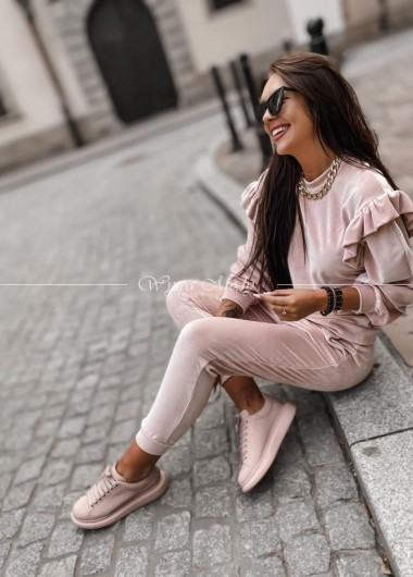 Komplet welurowy beige/pink
