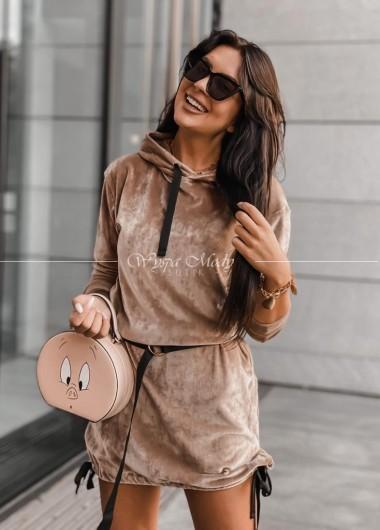Sukienka Welurowa Mediolan Camel