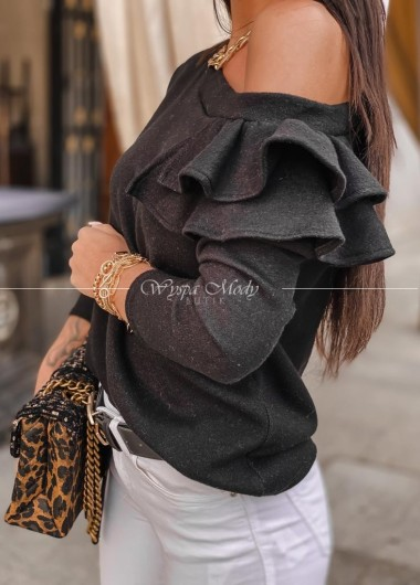 Sweterek falbana black