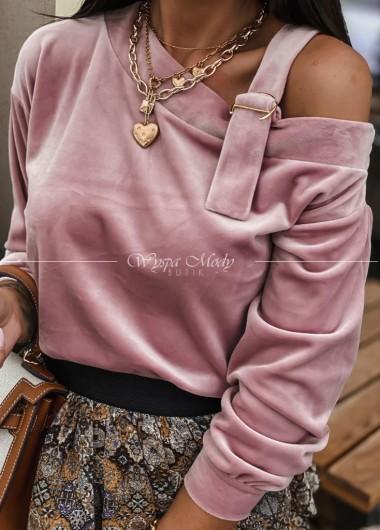 Sweterek welurowy klamra Pink