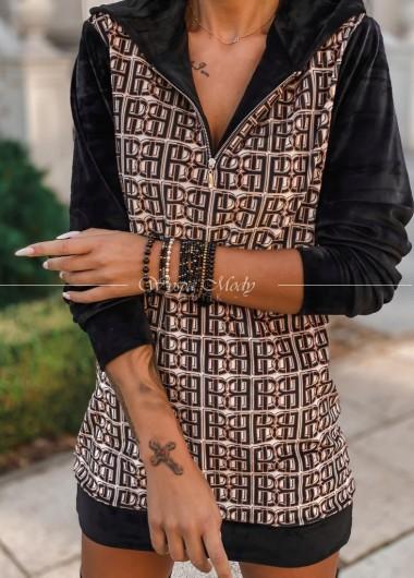 Welurowa sukienka Black&gold