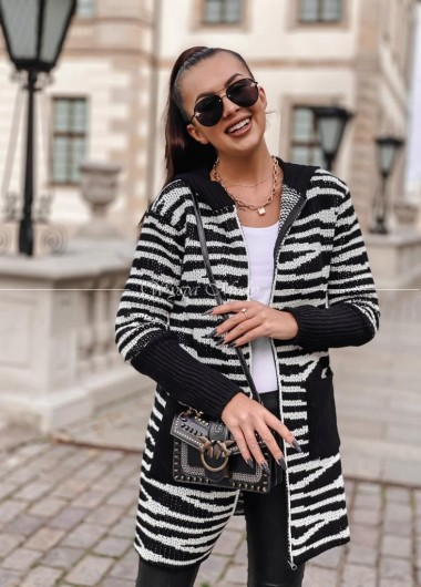 Kardigan Bolonia black&white
