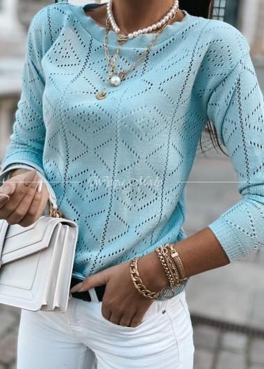 Sweterek ażurek mint