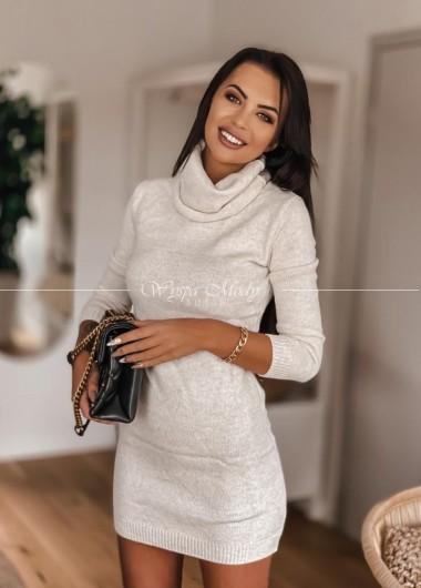 Jesienna sukienka bezowa stayhere