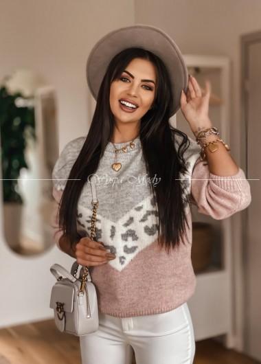 Sweterek monako pink&gray