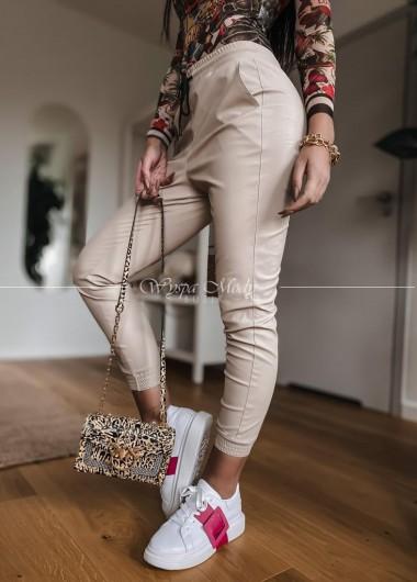 Spodnie skórkowe Sabrina beige