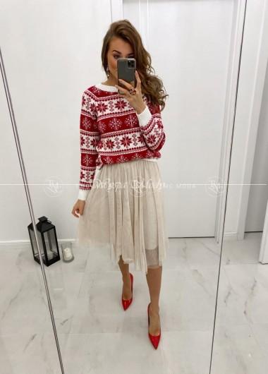 Sweterek snow red