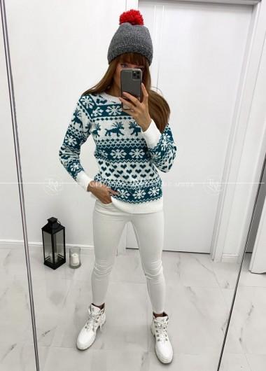 Sweterek winter white & turkus