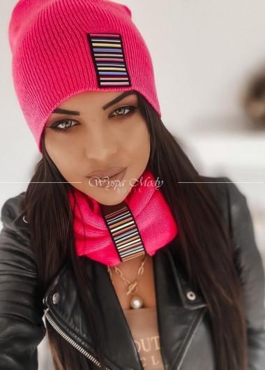 komplet komin + czapka neon pink