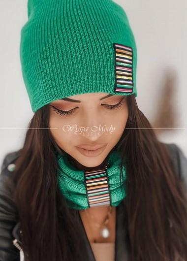 komplet komin + czapka intense green