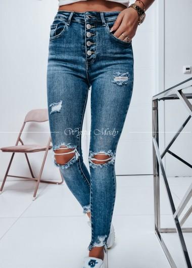 Jeans wysoki stan guziki