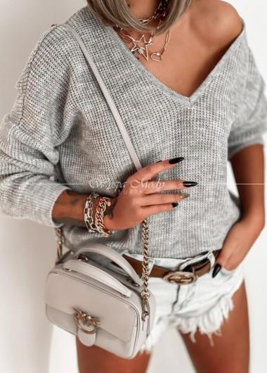 Sweter v neck grey włoska przedza