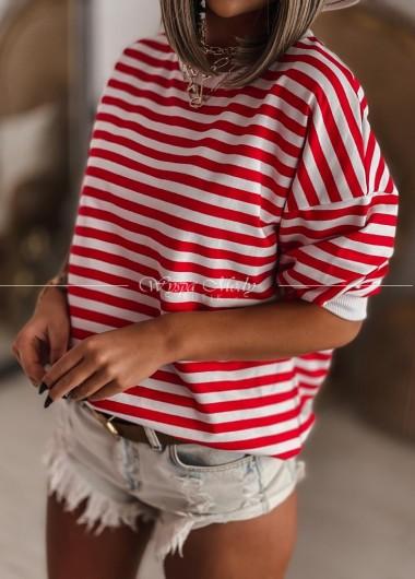Bluza w paski red