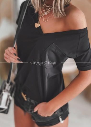 Tshirt kieszonka black
