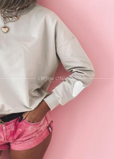 Bluza w serduszka beige