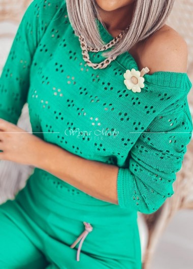 Sweterek ażur green
