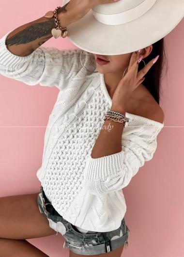 Sweterek warkocz BY LOLA white