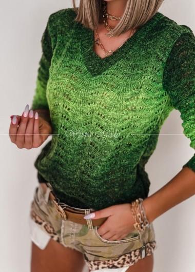 Sweterek Green Ombre V neck