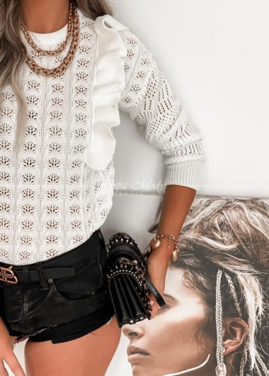 Sweterek Ażurek Nela white