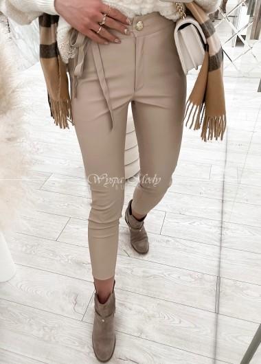 spodnie beige skórkowe