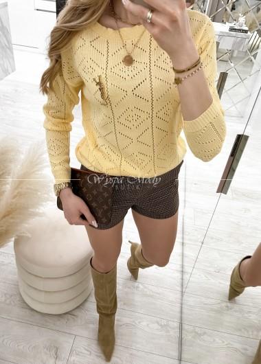 sweterek ażurek malibu yellow