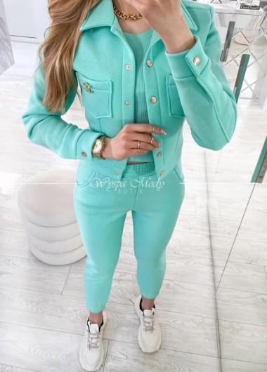 Komplet top+ spodnie+ katanka mint