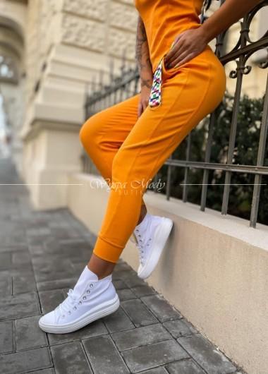 Spodnie prążek laki orange