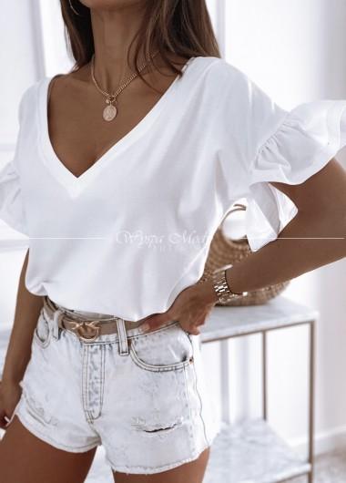 Bluzka falbanka white
