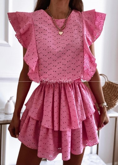 Sukienka ażurowa pink