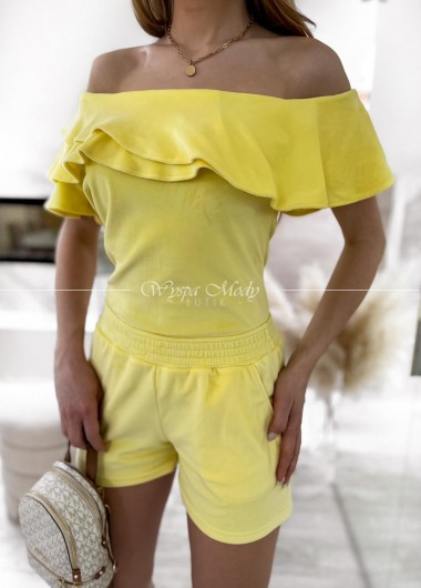 Komplet welurowy spodenki+ bluzka yellow