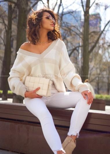 sweterek v neck beige