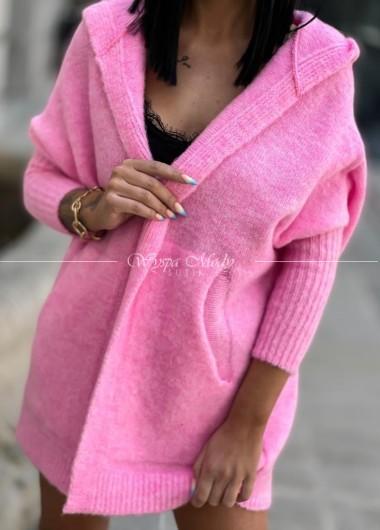 Kardigan włoska przędza Candy Pink