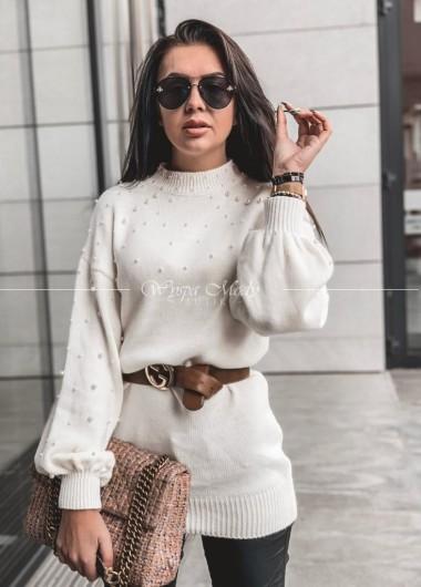 Sweter perełka ecru