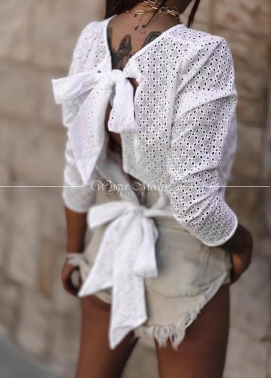 Koronkowa azurkowa koszula white
