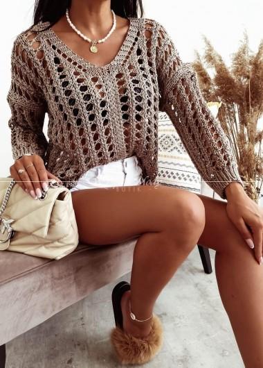 Sweterek Ażurek boho brown
