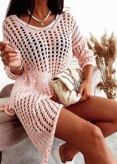 Sweterek Ażurek Boho pink