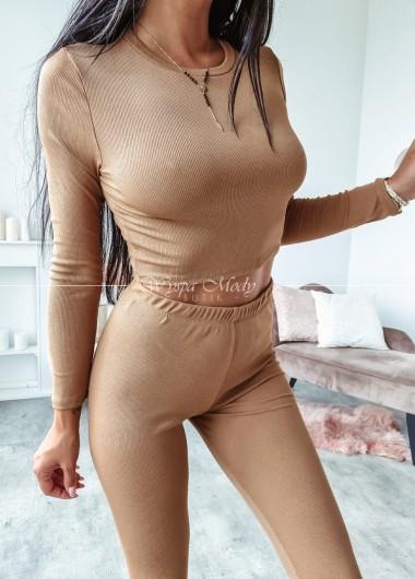 Komplet Top plus spodnie camel