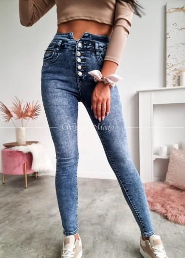Spodnie jeans blue wysoki stan