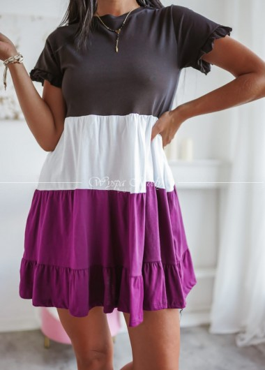Sukienka w paski fiolet