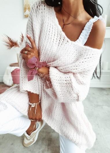 Sweterek oversize light pink
