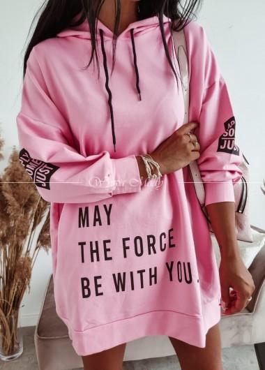 Bluza long force pink