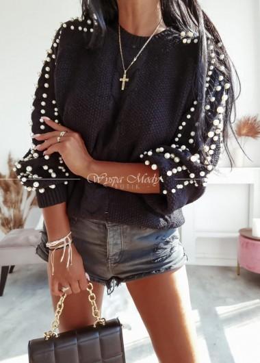 Sweterek perełka black