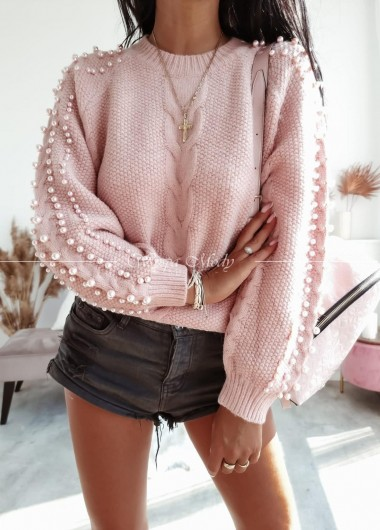 Sweterek perełka pink
